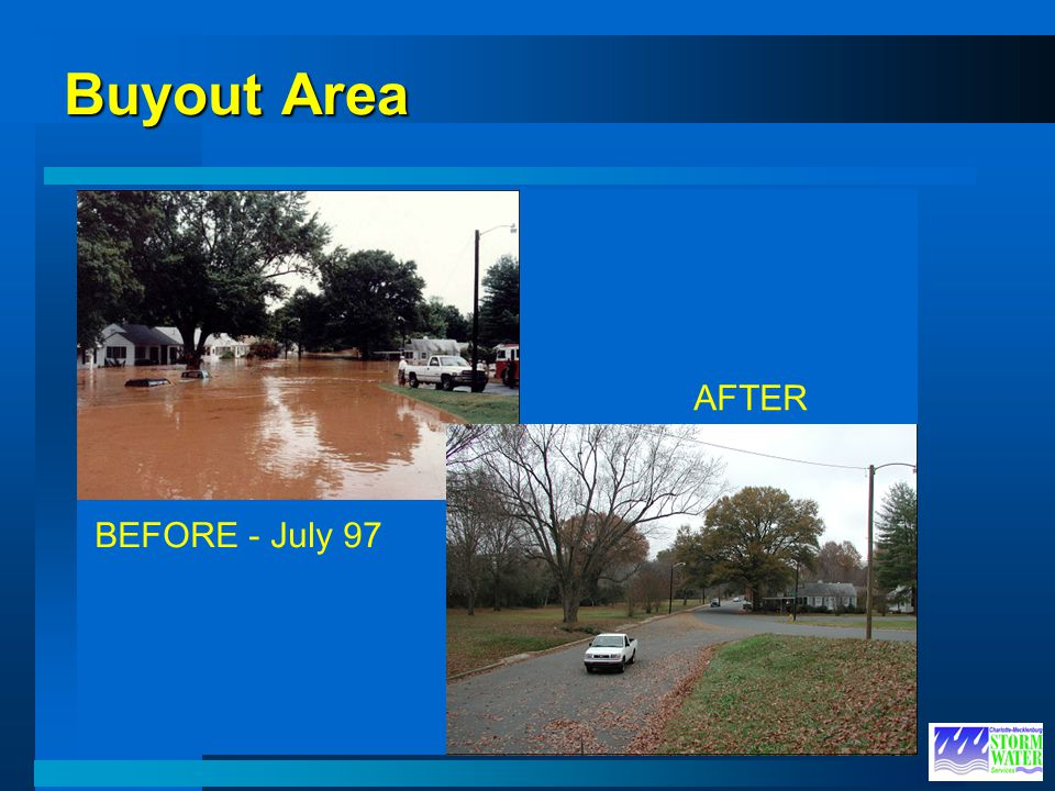 BEFORE Buyout Area AFTER High Water BEFORE - July 97 AFTER