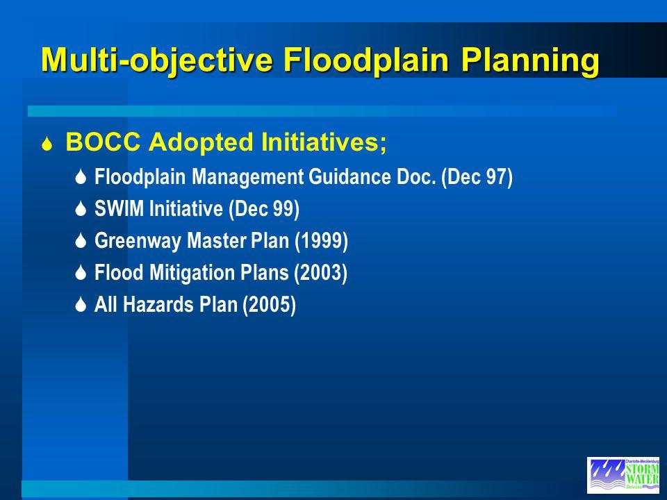Multi-objective Floodplain Planning BOCC Adopted Initiatives; Floodplain Management Guidance Doc. (Dec 97) SWIM Initiative (Dec 99) Greenway Master Pl