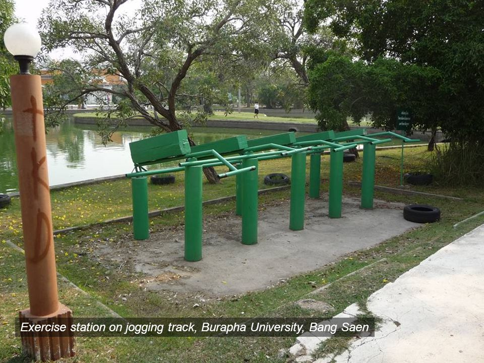 Exercise station on jogging track, Burapha University, Bang Saen