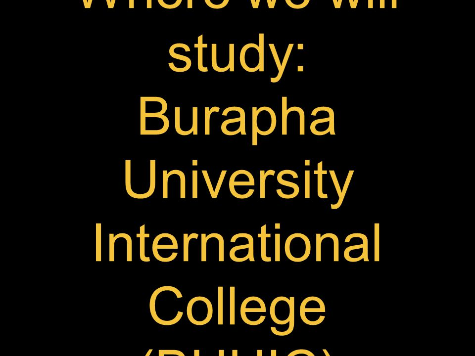 Where we will study: Burapha University International College (BUUIC)
