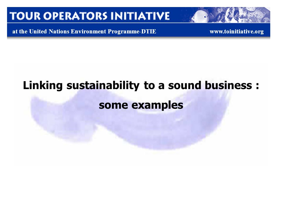 at the United Nations Environment Programme-DTIEwww.toinitiative.org Linking sustainability to a sound business : some examples