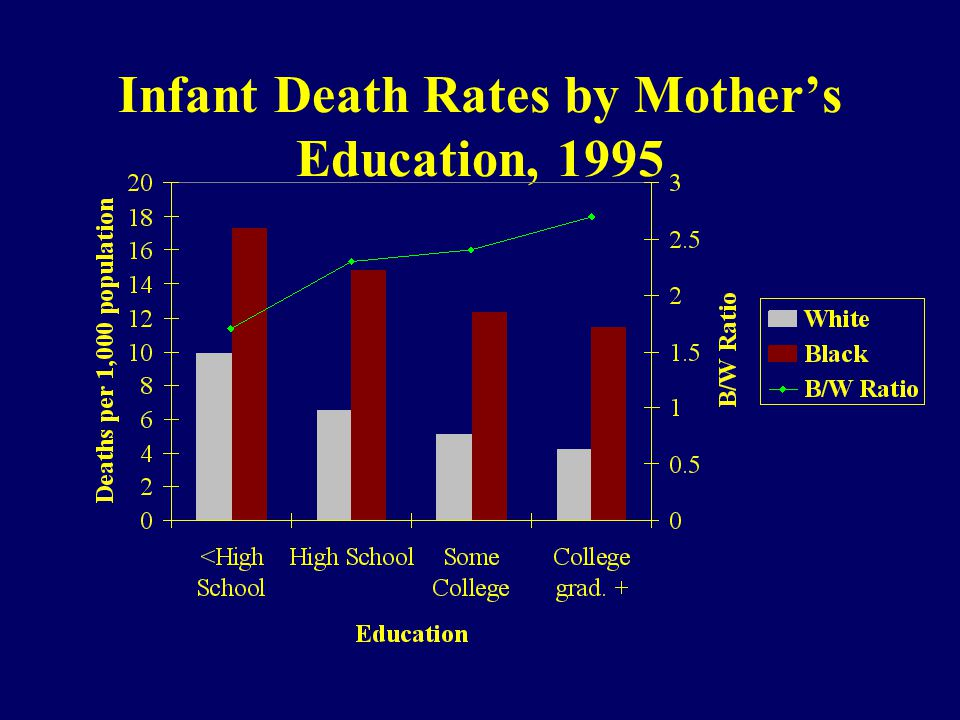Infant Death Rates by Mothers Education, 1995