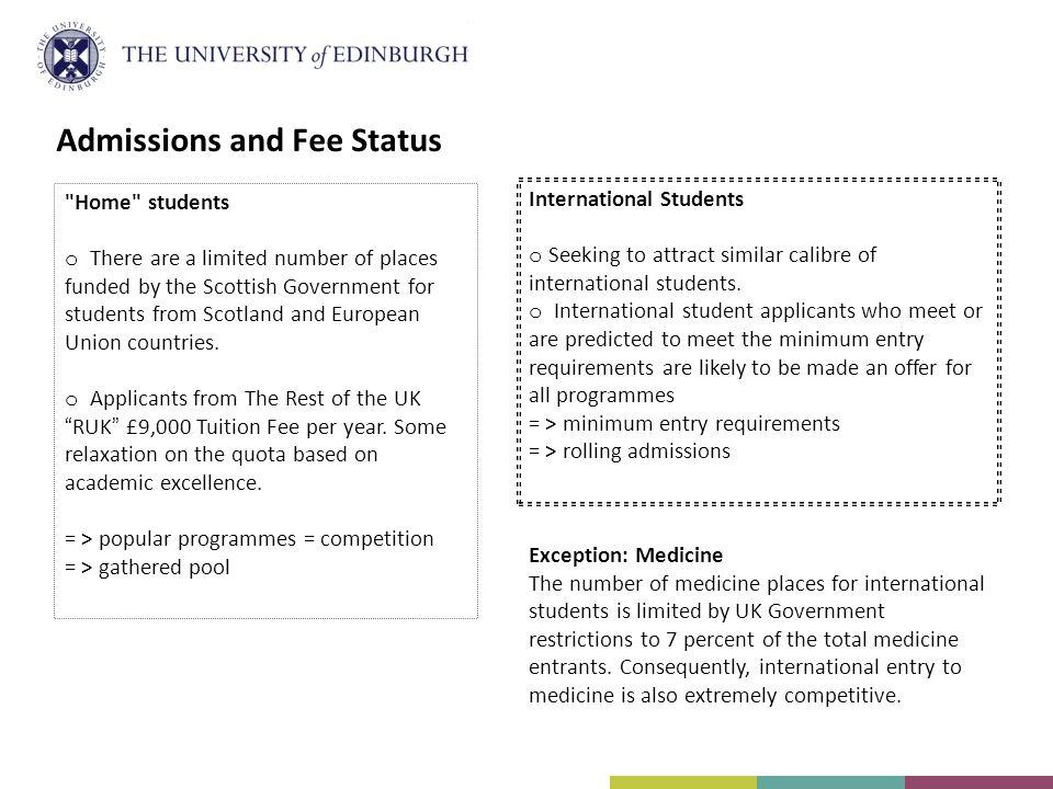International Students o Seeking to attract similar calibre of international students.
