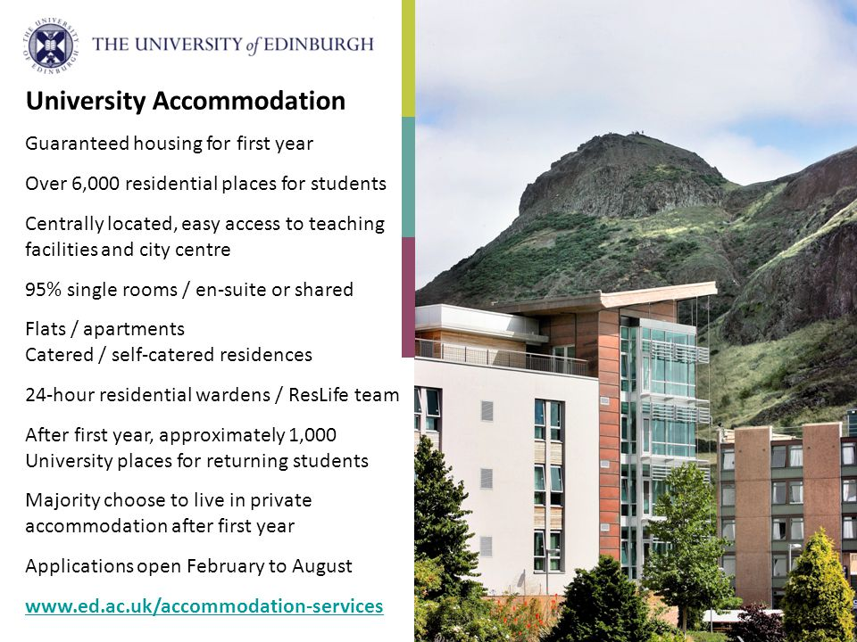 University Accommodation Guaranteed housing for first year Over 6,000 residential places for students Centrally located, easy access to teaching facil