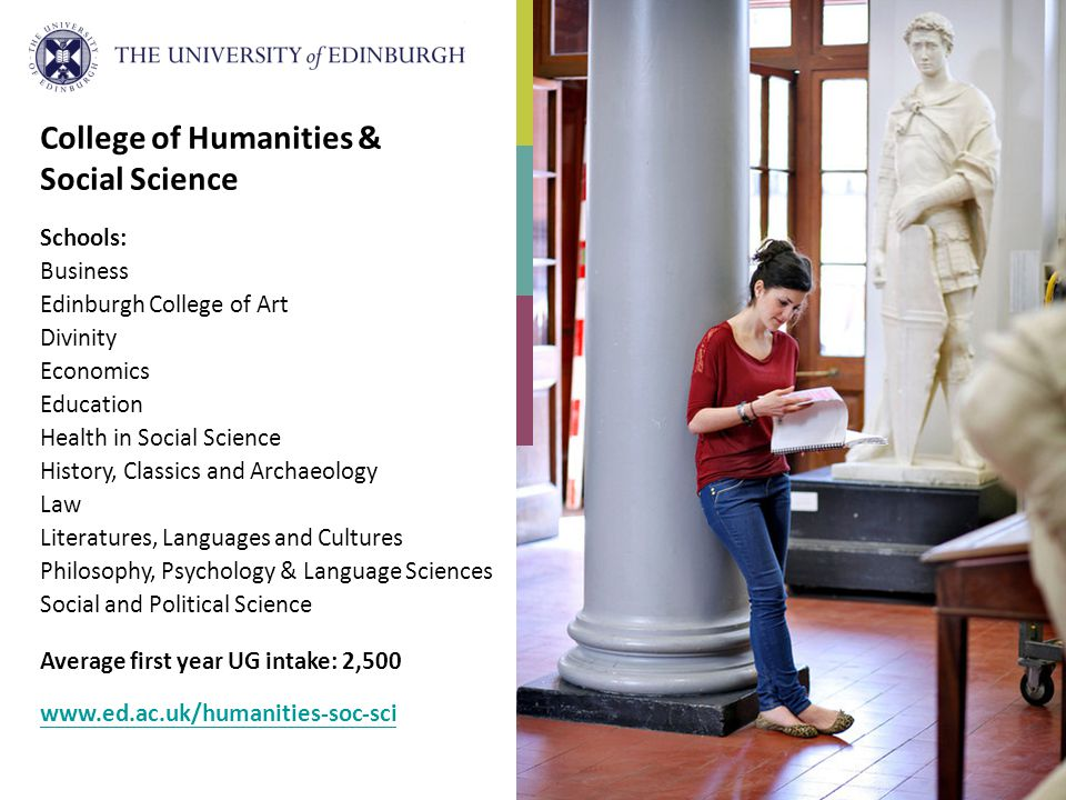 College of Humanities & Social Science Schools: Business Edinburgh College of Art Divinity Economics Education Health in Social Science History, Class