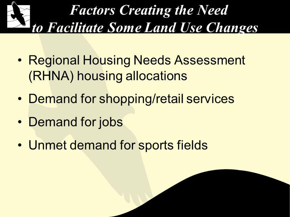 Factors Creating the Need to Facilitate Some Land Use Changes Regional Housing Needs Assessment (RHNA) housing allocations Demand for shopping/retail services Demand for jobs Unmet demand for sports fields