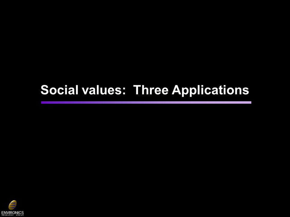 ENVIRONICS R E S E A R C H G R O U P Social values: Three Applications
