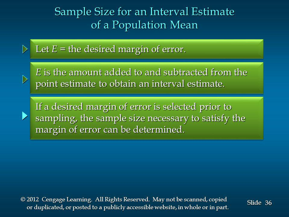 36 Slide © 2012 Cengage Learning. All Rights Reserved.