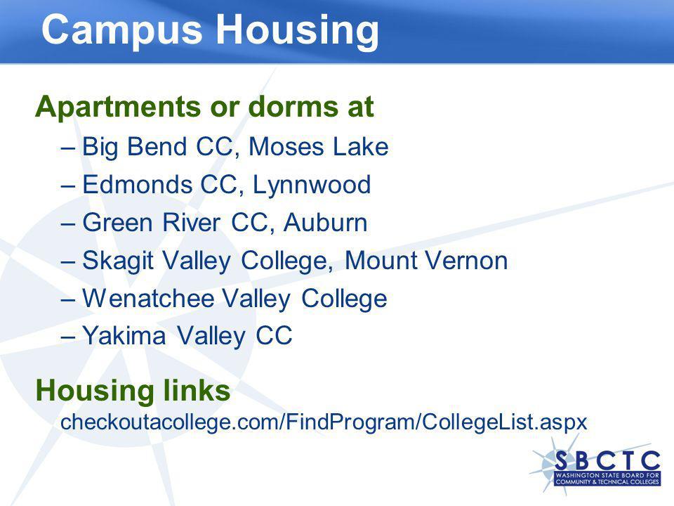 Campus Housing Apartments or dorms at –Big Bend CC, Moses Lake –Edmonds CC, Lynnwood –Green River CC, Auburn –Skagit Valley College, Mount Vernon –Wen