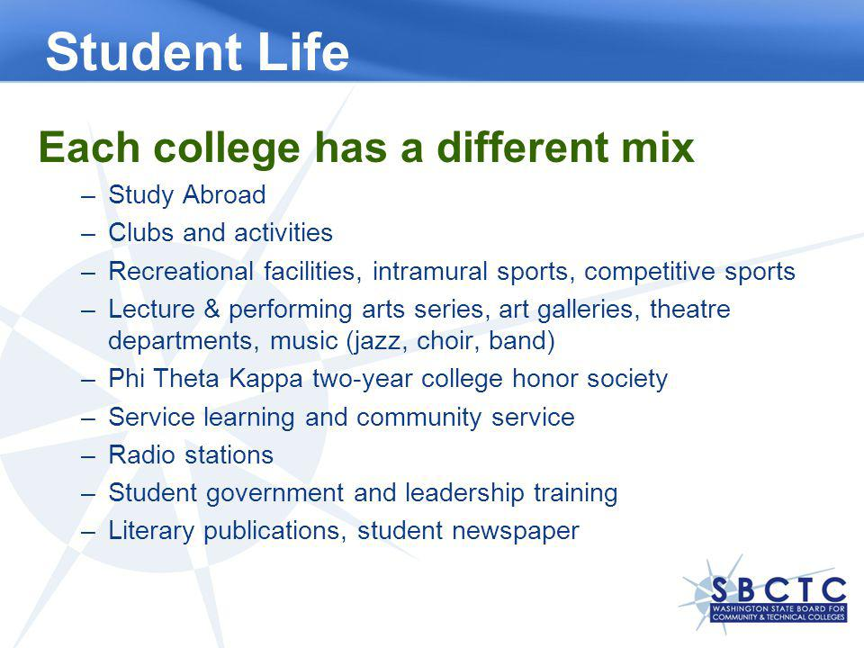 Student Life Each college has a different mix –Study Abroad –Clubs and activities –Recreational facilities, intramural sports, competitive sports –Lecture & performing arts series, art galleries, theatre departments, music (jazz, choir, band) –Phi Theta Kappa two-year college honor society –Service learning and community service –Radio stations –Student government and leadership training –Literary publications, student newspaper