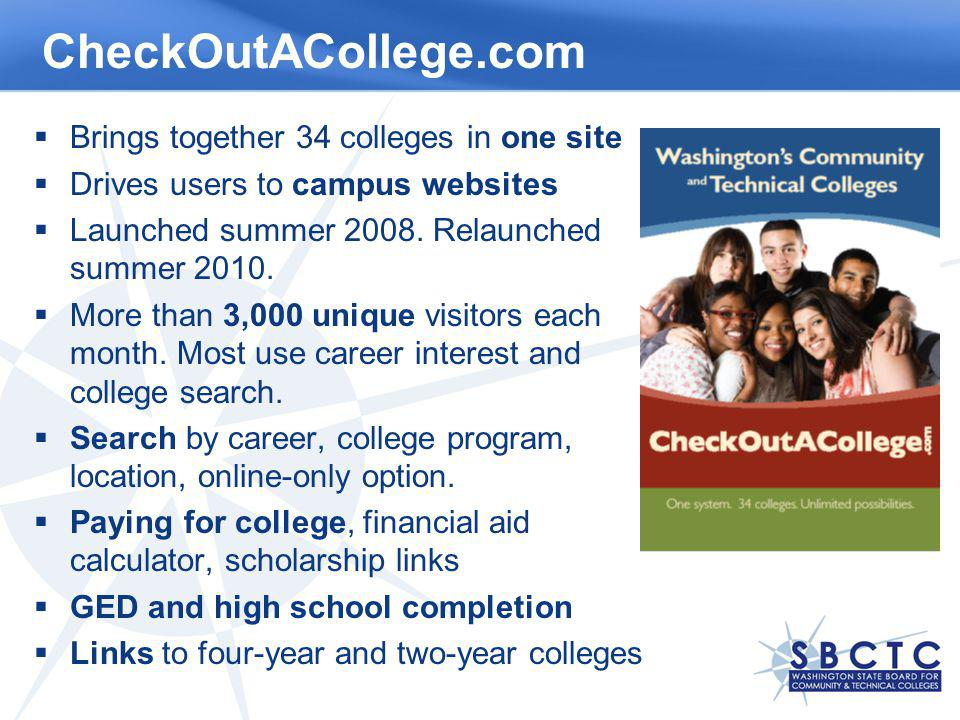 CheckOutACollege.com Brings together 34 colleges in one site Drives users to campus websites Launched summer 2008.