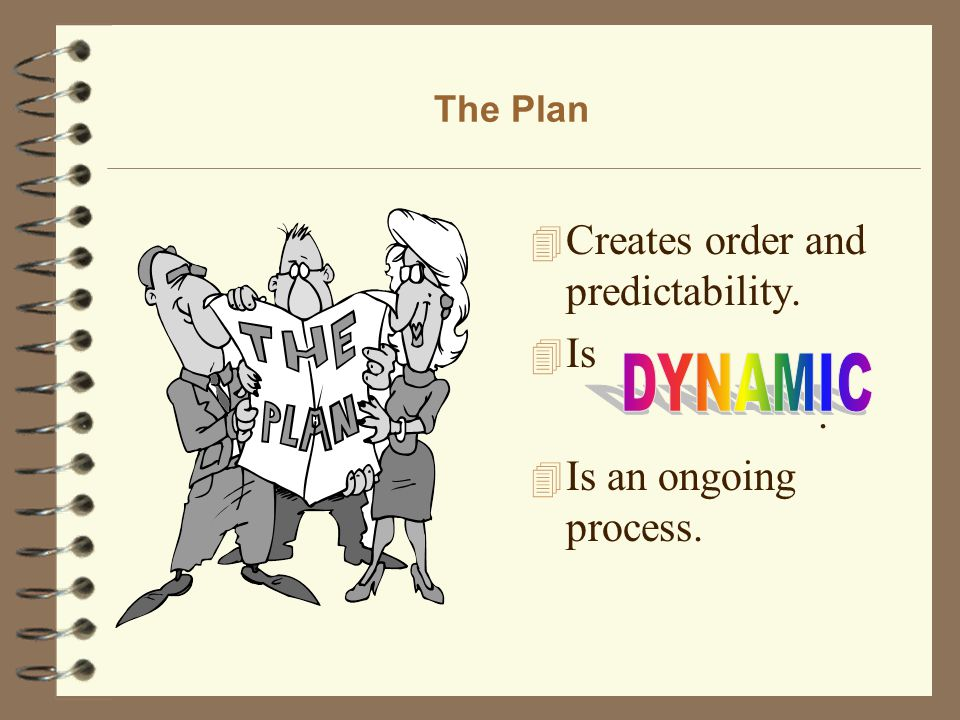 The Plan 4 Creates order and predictability. 4 Is. 4 Is an ongoing process.