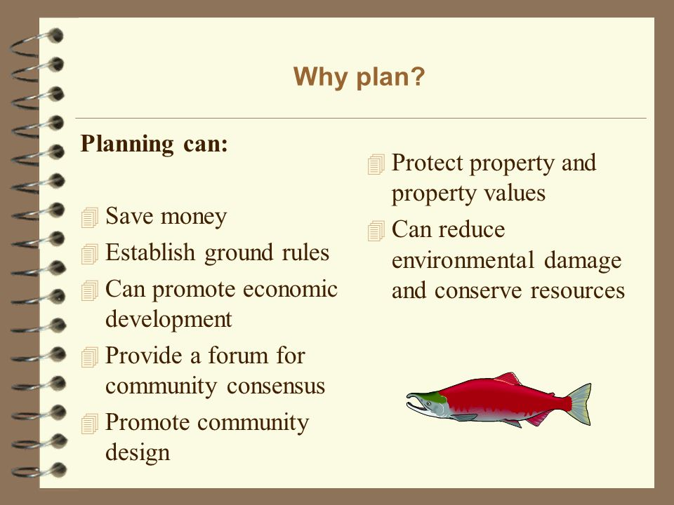 Why plan? Planning can: 4 Save money 4 Establish ground rules 4 Can promote economic development 4 Provide a forum for community consensus 4 Promote c