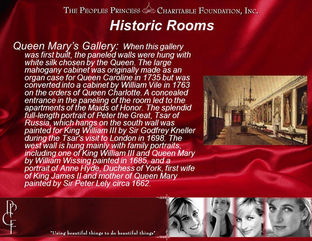Historic Rooms Queen Marys Gallery: When this gallery was first built, the paneled walls were hung with white silk chosen by the Queen.