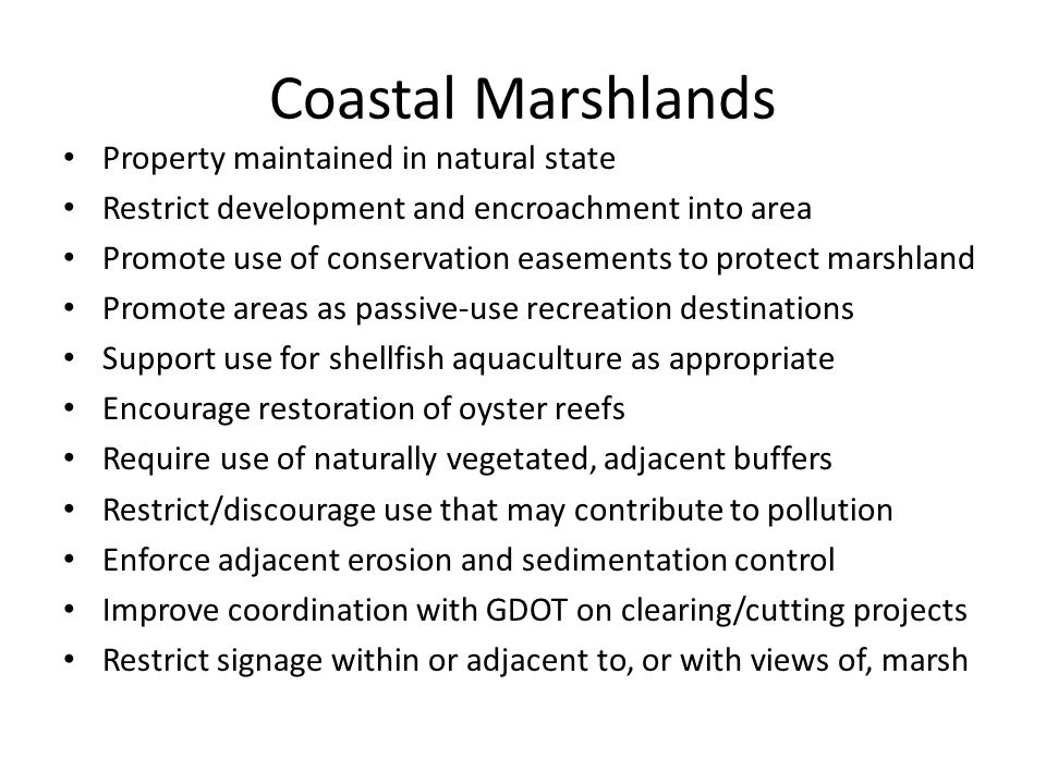 Coastal Marshlands Property maintained in natural state Restrict development and encroachment into area Promote use of conservation easements to prote