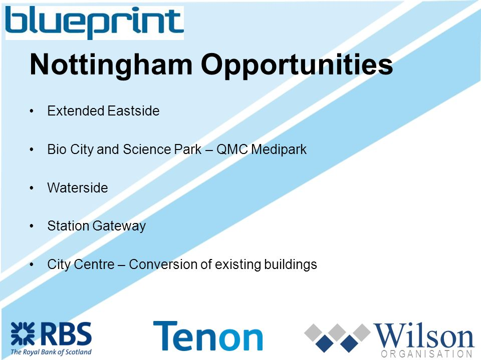 Wilson O R G A N I S A T I O N Nottingham Opportunities Extended Eastside Bio City and Science Park – QMC Medipark Waterside Station Gateway City Centre – Conversion of existing buildings