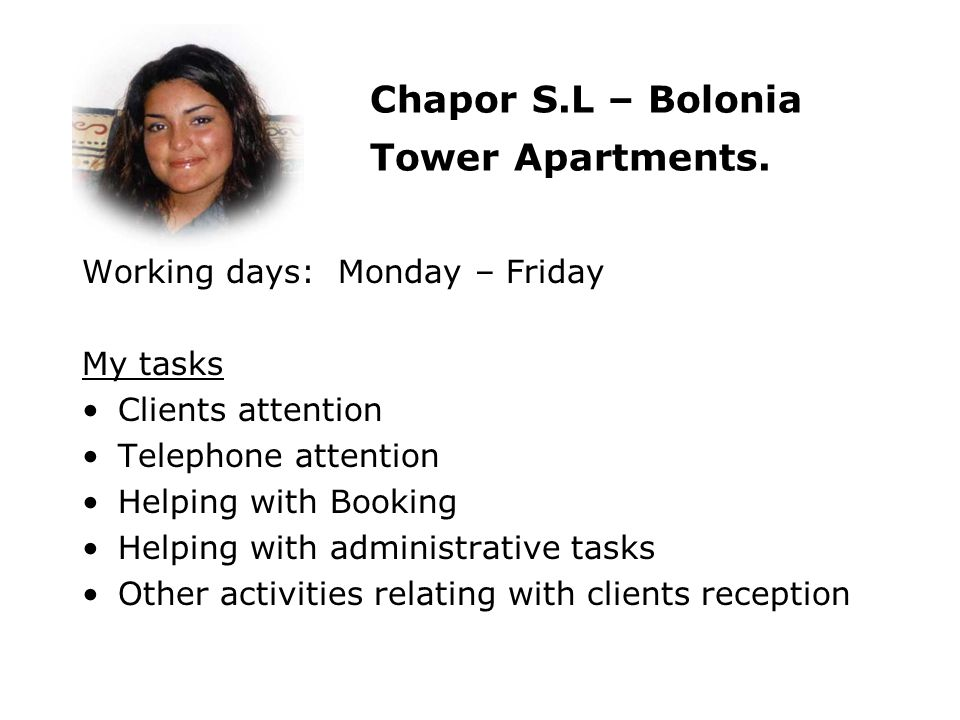 Chapor S.L – Bolonia Tower Apartments.