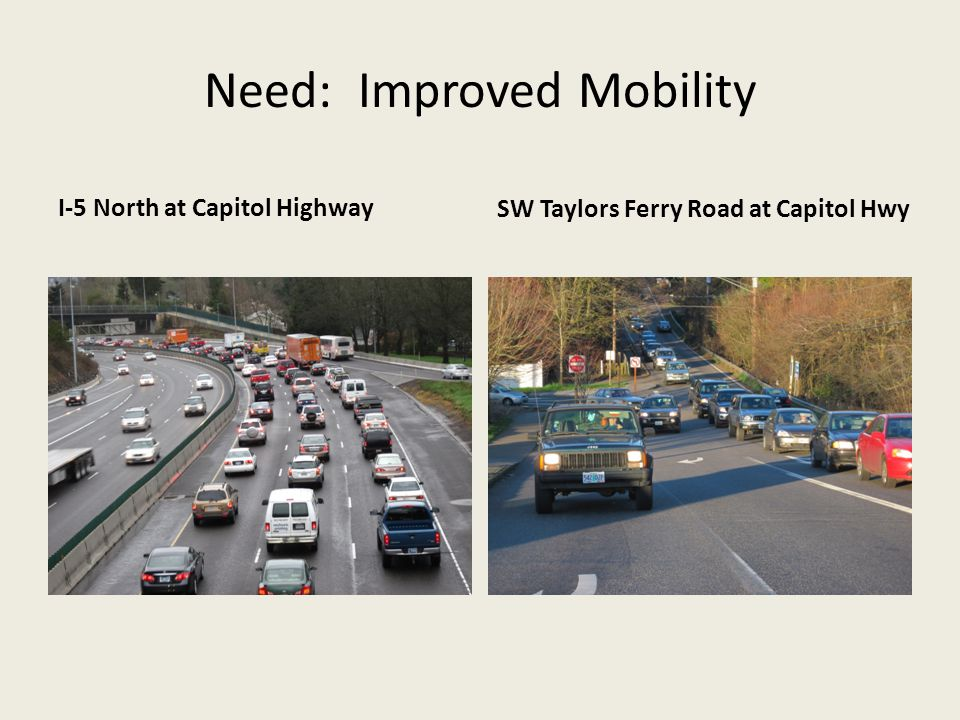 Need: Improved Mobility I-5 North at Capitol HighwaySW Taylors Ferry Road at Capitol Hwy