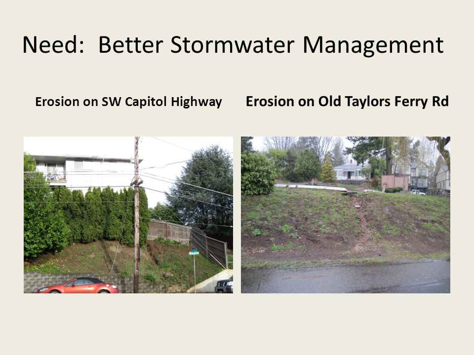 Need: Better Stormwater Management Erosion on SW Capitol Highway Erosion on Old Taylors Ferry Rd