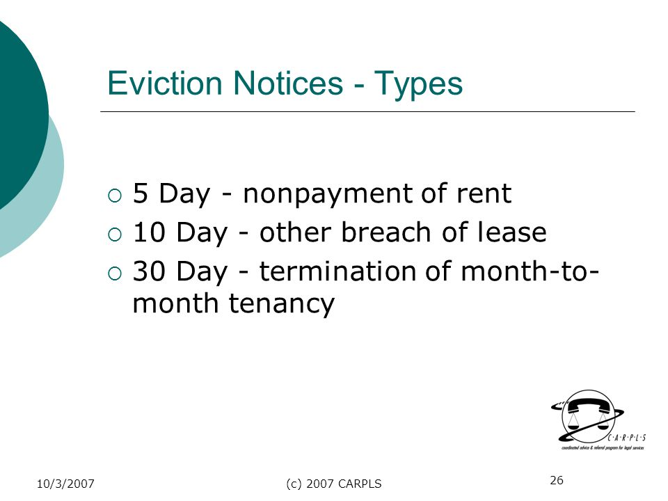 26 10/3/2007(c) 2007 CARPLS Eviction Notices - Types 5 Day - nonpayment of rent 10 Day - other breach of lease 30 Day - termination of month-to- month