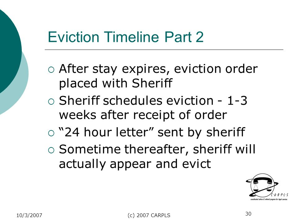 30 10/3/2007(c) 2007 CARPLS Eviction Timeline Part 2 After stay expires, eviction order placed with Sheriff Sheriff schedules eviction - 1-3 weeks aft