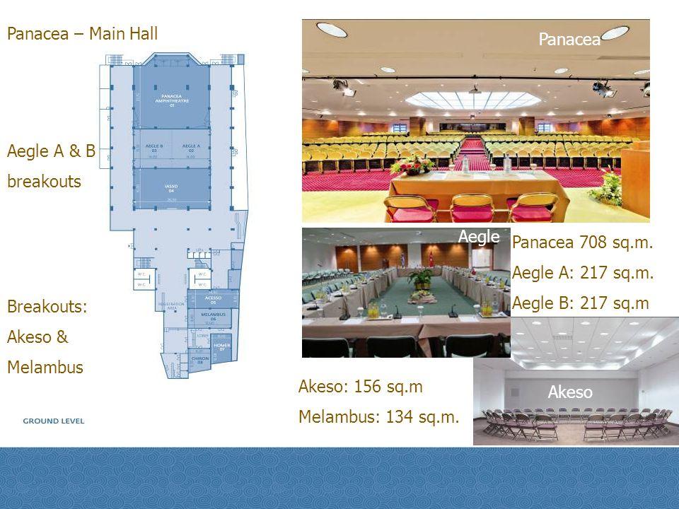 Panacea – Main Hall Aegle A & B breakouts Breakouts: Akeso & Melambus Panacea Akeso Aegle Panacea 708 sq.m. Aegle A: 217 sq.m. Aegle B: 217 sq.m Akeso
