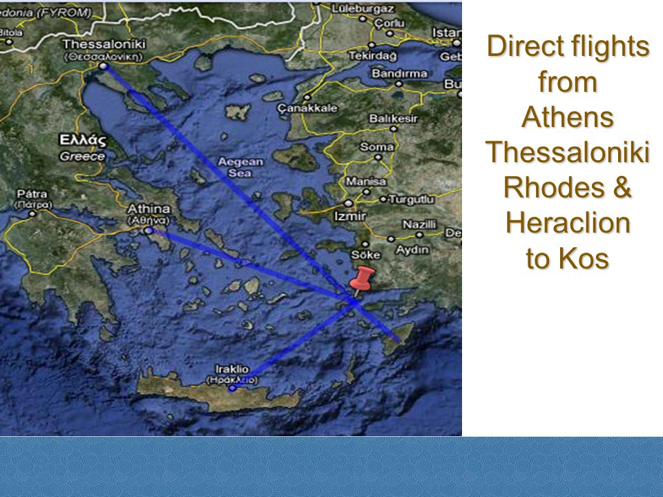 Direct flights from Athens Thessaloniki Rhodes & Heraclion to Kos