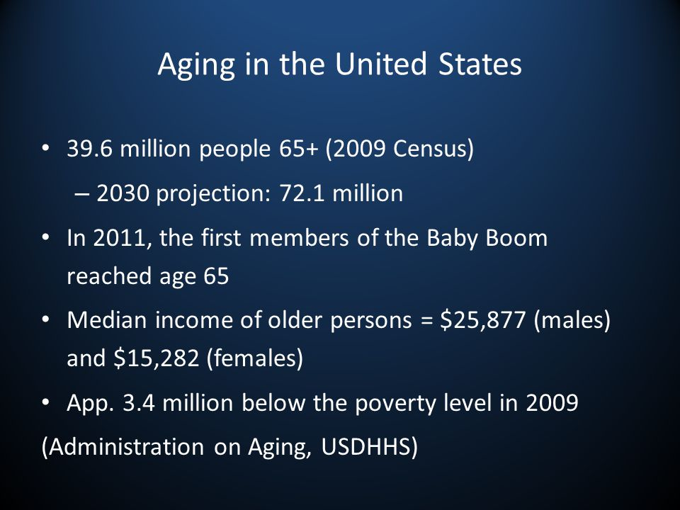 Aging in the United States 39.6 million people 65+ (2009 Census) – 2030 projection: 72.1 million In 2011, the first members of the Baby Boom reached age 65 Median income of older persons = $25,877 (males) and $15,282 (females) App.