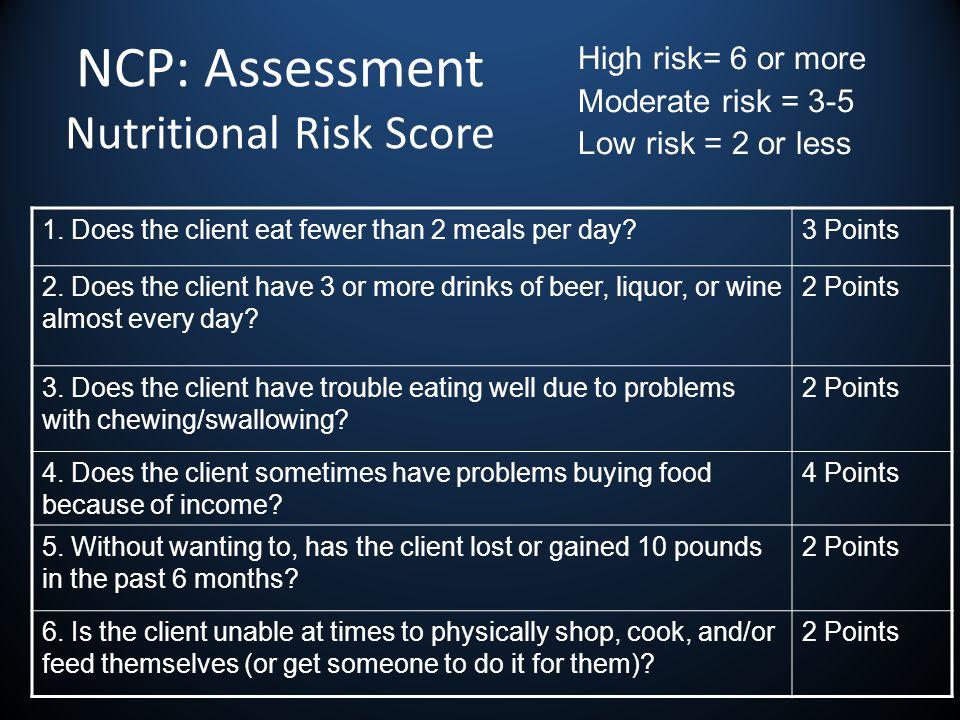 NCP: Assessment Nutritional Risk Score 1.