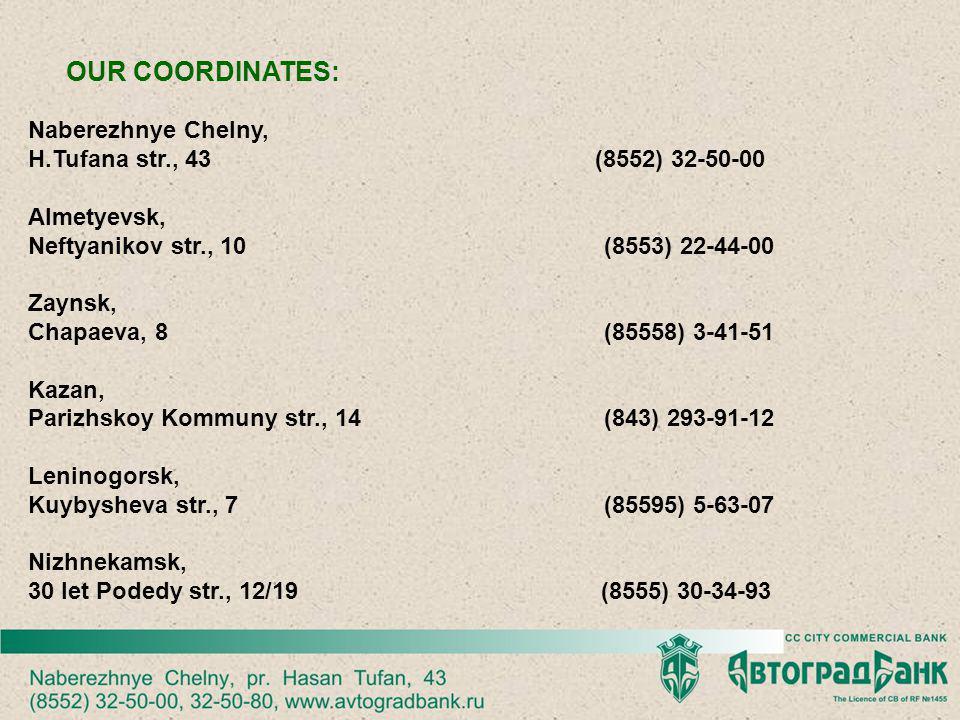 OUR COORDINATES: Naberezhnye Chelny, H.Tufana str., 43 (8552) 32-50-00 Almetyevsk, Neftyanikov str., 10(8553) 22-44-00 Zaynsk, Chapaeva, 8(85558) 3-41-51 Kazan, Parizhskoy Kommuny str., 14(843) 293-91-12 Leninogorsk, Kuybysheva str., 7(85595) 5-63-07 Nizhnekamsk, 30 let Podedy str., 12/19 (8555) 30-34-93