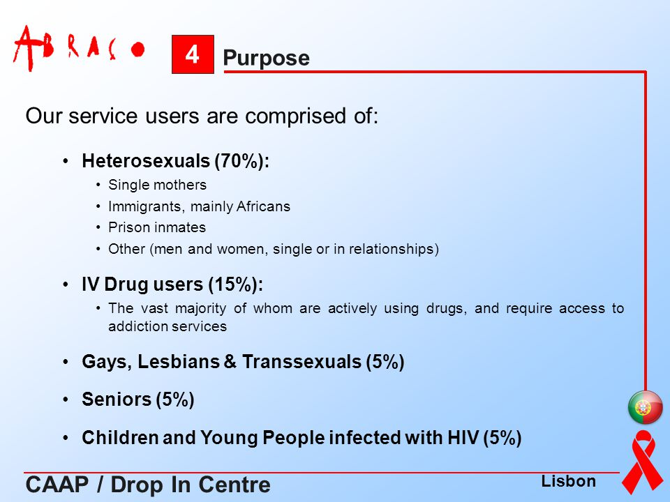 Our service users are comprised of: Heterosexuals (70%): Single mothers Immigrants, mainly Africans Prison inmates Other (men and women, single or in