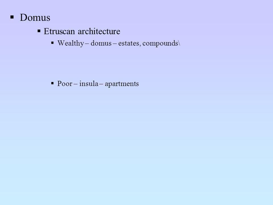 Domus Etruscan architecture Wealthy – domus – estates, compounds\ Poor – insula – apartments
