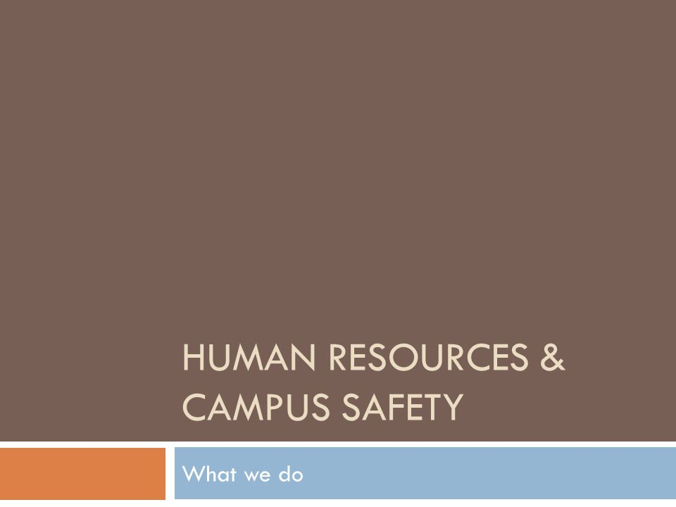 HUMAN RESOURCES & CAMPUS SAFETY What we do