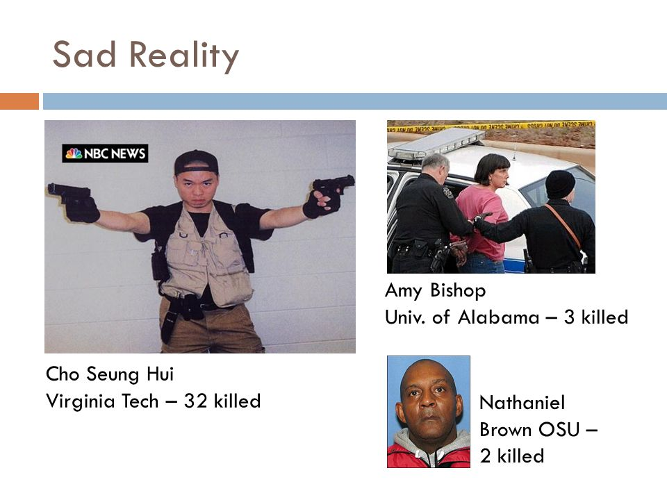 Sad Reality Cho Seung Hui Virginia Tech – 32 killed Amy Bishop Univ.