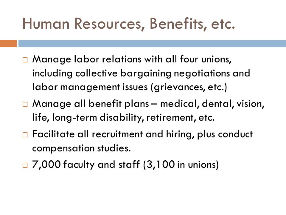 Human Resources, Benefits, etc.
