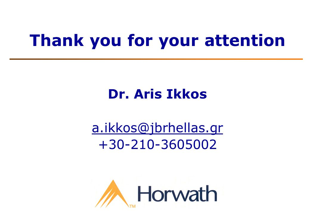Thank you for your attention Dr. Aris Ikkos a.ikkos@jbrhellas.gr +30-210-3605002