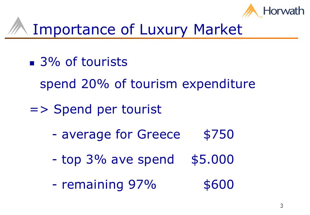 3 Importance of Luxury Market 3% of tourists spend 20% of tourism expenditure => Spend per tourist - average for Greece $750 - top 3% ave spend $5.000 - remaining 97%$600