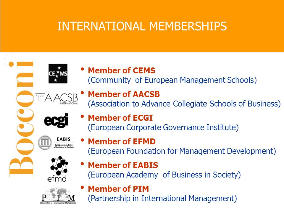 Member of CEMS (Community of European Management Schools) Member of AACSB (Association to Advance Collegiate Schools of Business) Member of ECGI (Euro