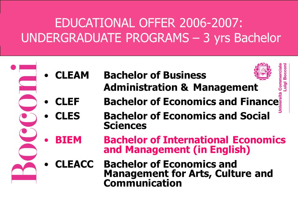 EDUCATIONAL OFFER 2006-2007: UNDERGRADUATE PROGRAMS – 3 yrs Bachelor CLEAMBachelor of Business Administration & Management CLEFBachelor of Economics a