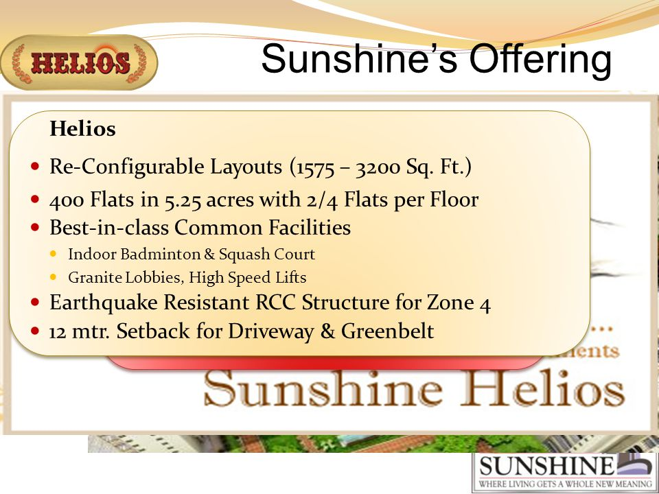 Sunshines Offering Plot # GH 005 B Sector 78 NOIDA Plot # GH 005 B Sector 78 NOIDA Helios Re-Configurable Layouts (1575 – 3200 Sq.