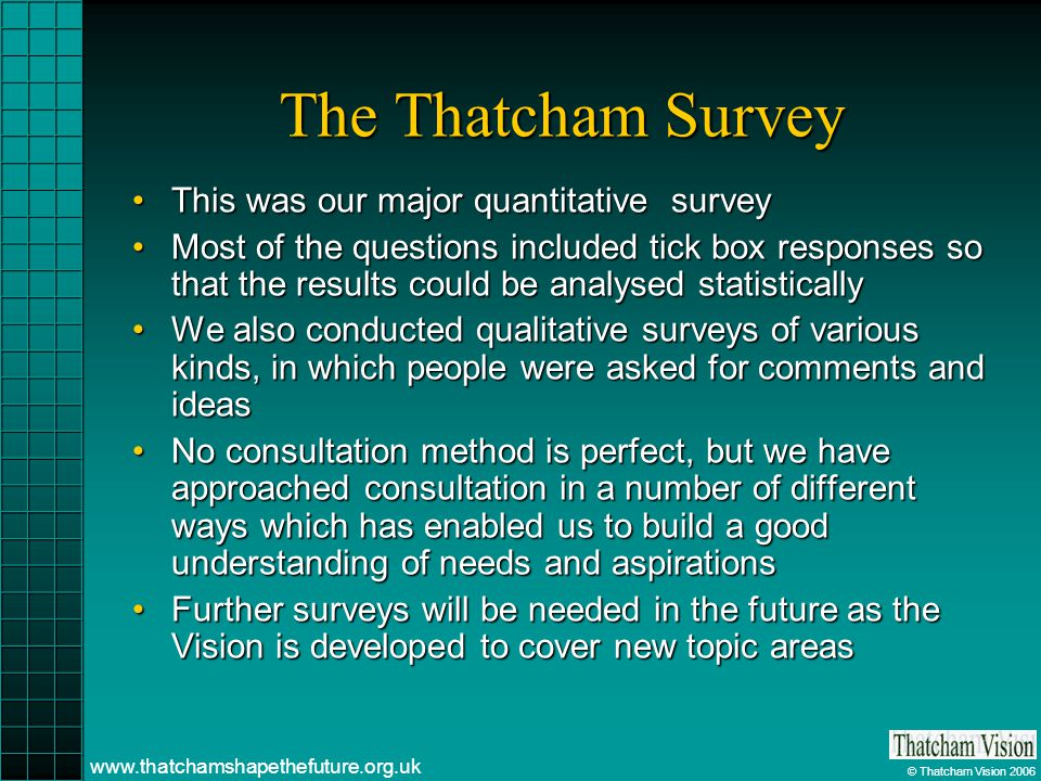 © Thatcham Vision 2006 www.thatchamshapethefuture.org.uk The Thatcham Survey This was our major quantitative surveyThis was our major quantitative survey Most of the questions included tick box responses so that the results could be analysed statisticallyMost of the questions included tick box responses so that the results could be analysed statistically We also conducted qualitative surveys of various kinds, in which people were asked for comments and ideasWe also conducted qualitative surveys of various kinds, in which people were asked for comments and ideas No consultation method is perfect, but we have approached consultation in a number of different ways which has enabled us to build a good understanding of needs and aspirationsNo consultation method is perfect, but we have approached consultation in a number of different ways which has enabled us to build a good understanding of needs and aspirations Further surveys will be needed in the future as the Vision is developed to cover new topic areasFurther surveys will be needed in the future as the Vision is developed to cover new topic areas