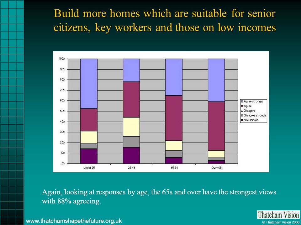 © Thatcham Vision 2006 www.thatchamshapethefuture.org.uk Build more homes which are suitable for senior citizens, key workers and those on low incomes Again, looking at responses by age, the 65s and over have the strongest views with 88% agreeing.