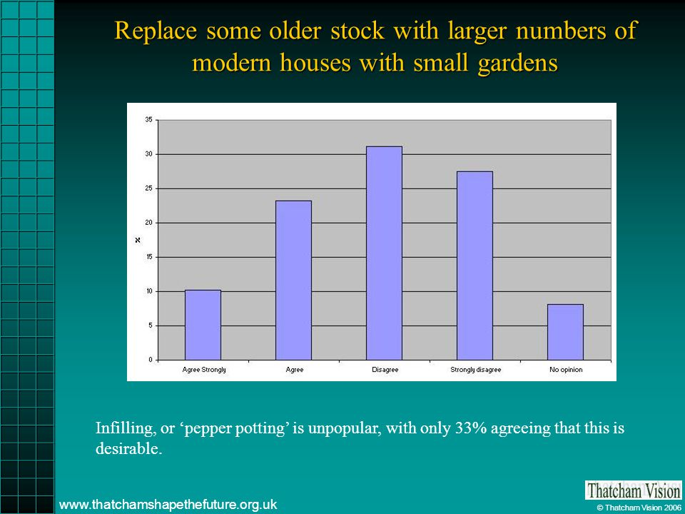 © Thatcham Vision 2006 www.thatchamshapethefuture.org.uk Replace some older stock with larger numbers of modern houses with small gardens Infilling, or pepper potting is unpopular, with only 33% agreeing that this is desirable.