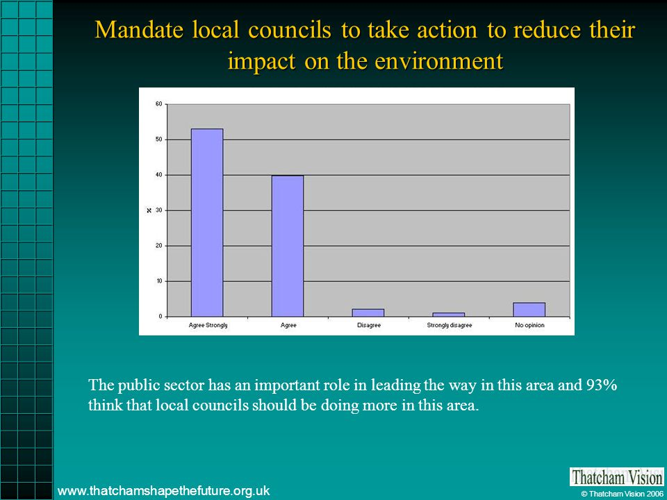 © Thatcham Vision 2006 www.thatchamshapethefuture.org.uk Mandate local councils to take action to reduce their impact on the environment The public sector has an important role in leading the way in this area and 93% think that local councils should be doing more in this area.
