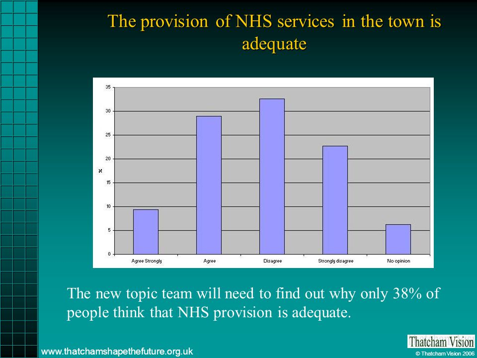 © Thatcham Vision 2006 www.thatchamshapethefuture.org.uk The provision of NHS services in the town is adequate The new topic team will need to find out why only 38% of people think that NHS provision is adequate.