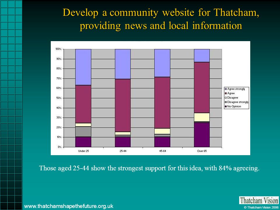© Thatcham Vision 2006 www.thatchamshapethefuture.org.uk Develop a community website for Thatcham, providing news and local information Those aged 25-44 show the strongest support for this idea, with 84% agreeing.