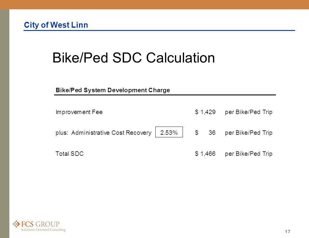 City of West Linn 17 Bike/Ped SDC Calculation