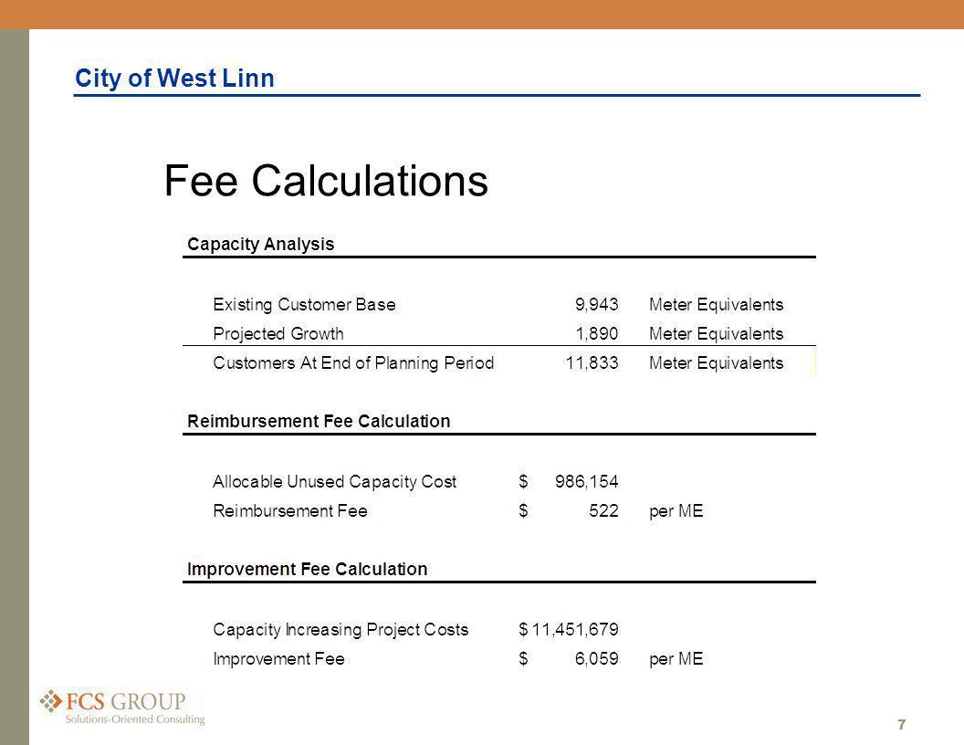 City of West Linn 7 Fee Calculations