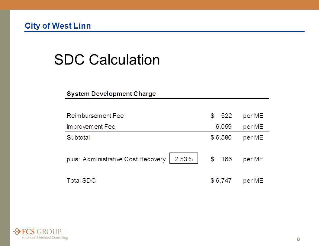 City of West Linn 8 SDC Calculation