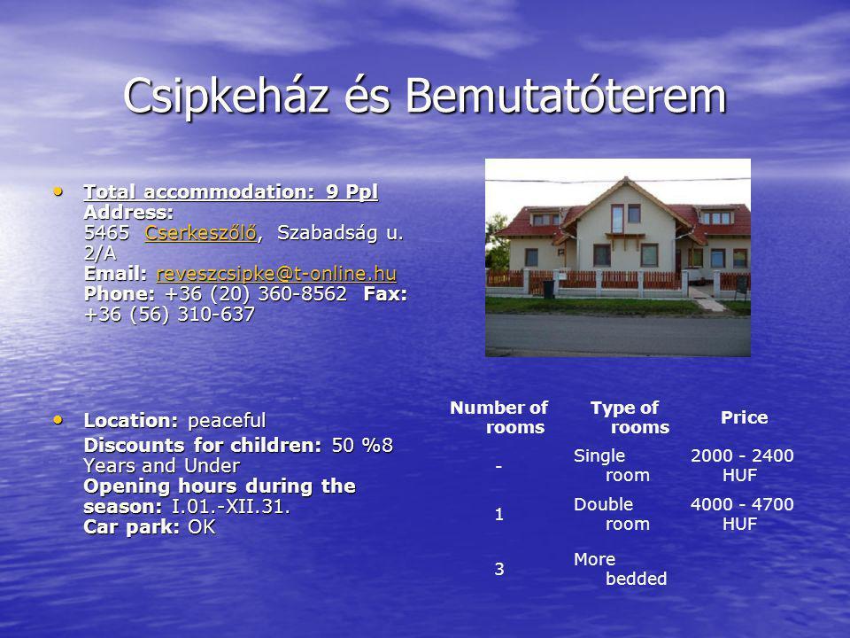 Csipkeház és Bemutatóterem Total accommodation: 9 Ppl Address: 5465 Cserkeszőlő, Szabadság u.